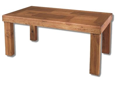 Mesa de comedor campestre recta de madera maciza estilo rústico