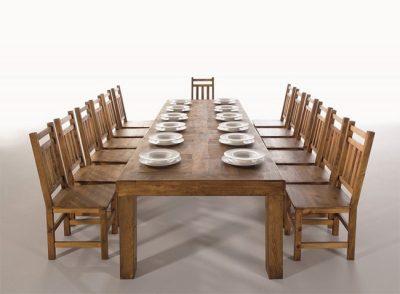 Mesa de comedor rústica grande rectangular de 250 cm de largo