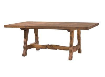Mesa de comedor rústica larga de madera maciza con patas onduladas