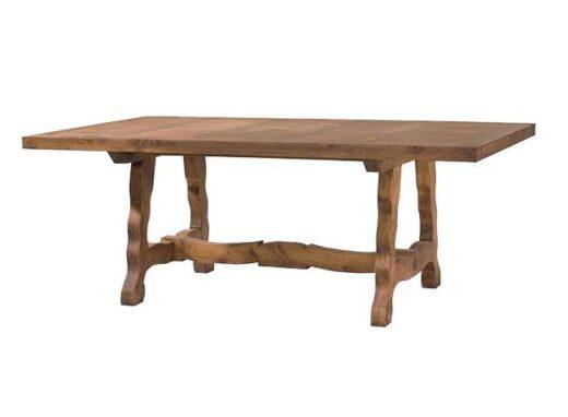 Mesa comedor rústica larga en madera y patas onduladas
