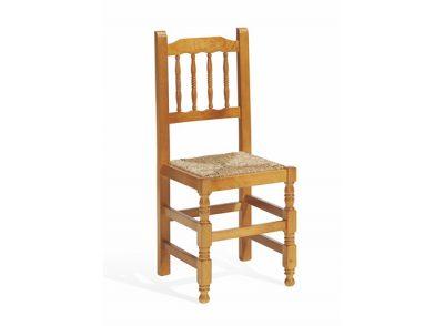 Silla de comedor campestre con asiento de enea estilo rústico