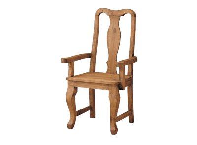 Silla con brazos rústica de madera maciza artesanal