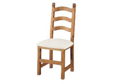 Silla rústica con asiento de loneta alcolchado fabricada en madera artesanal