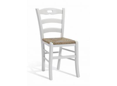 Silla rústica blanca lisa con asiento de enea