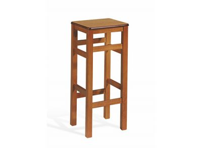 Taburete alto rústico de madera con asiento cuadrado y patas rectas