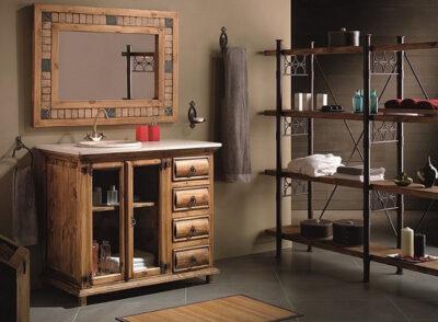 Aparador cómoda rústico con vitrina lateral y 4 cajones