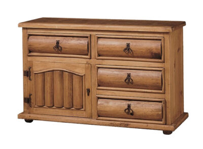 Aparador de madera rústico con cajones curvados y 1 puerta batiente