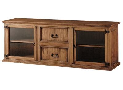 Aparador rústico largo para televisión con cajones y puertas laterales de cristal