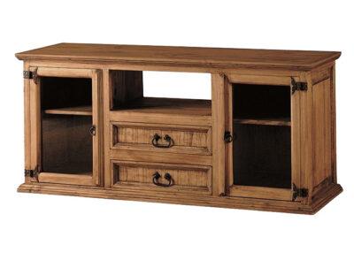 Aparador TV de madera rústico con hueco, cajones y vitrinas