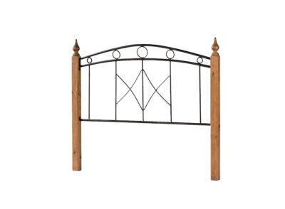 Cabecero de cama de hierro forjado vertical y madera