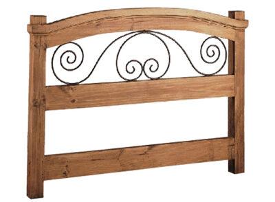Cabecero de forja y madera rústico con detalles curvos