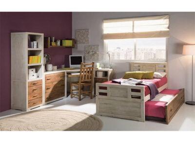 Dormitorio juvenil rústico con cama nido de madera en 2 colores