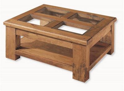 Mesa de centro rústica con tapa de 4 cristales y revistero