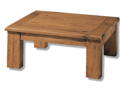 Mesa de centro rústica de madera maciza lisa