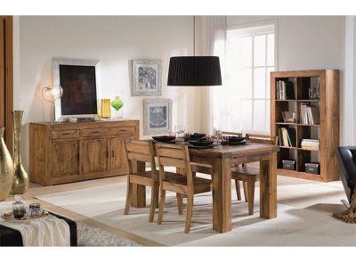 Mesa extensible y 4 sillas de comedor en madera estilo rústico-moderno