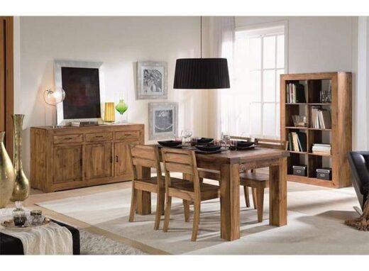 mesa extensible 4 sillas comedor madera rustico moderno