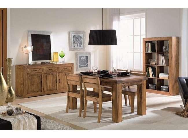 Mesa extensible y sillas comedor madera r stico moderno for Oferta mesa comedor extensible y sillas