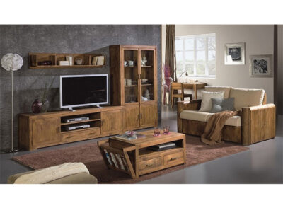 Mesa TV larga + vitrina de madera estilo rústico