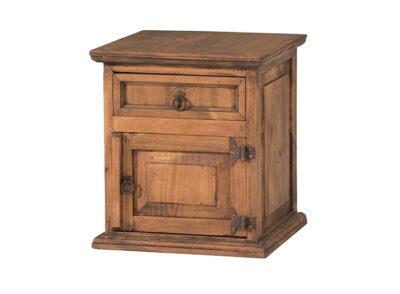 Mesita de noche de madera con 1 cajón superior y puerta estilo rústico