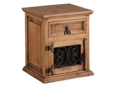 Mesita de noche de madera con puerta de hierro forjado estilo rústico