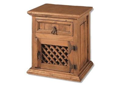 Mesita de noche rústica con 1 puerta con rejilla de madera y 1 cajón
