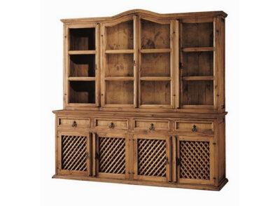 Mueble con vitrina de 4 puertas y cómoda de 4 puertas con rejillas de madera