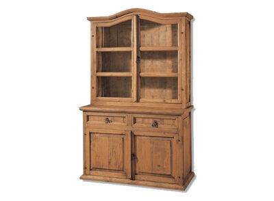 Vitrina ondulada de madera con 2 puertas de cristal y cómoda inferior estilo rústico