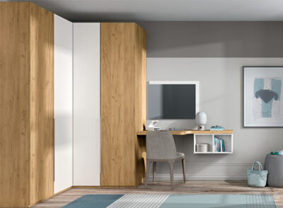 Armario de rincón con armario de 1 puerta