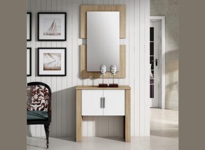 Armario recibidor estilo clásico con 2 puertas en color cambrian y espejo