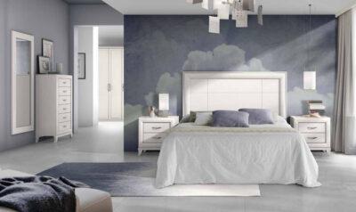 Cabecero cama recto y blanco con mesitas de 2 cajones de estilo clásico