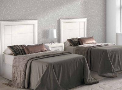 Cabecero para cama y mesita rectangular con líneas rectas en blanco (2º cabecero adicional)