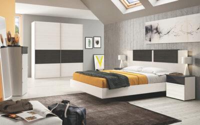 Cabecero de dormitorio de matrimonio largo en forma de galería con bañera y mesitas + cajón