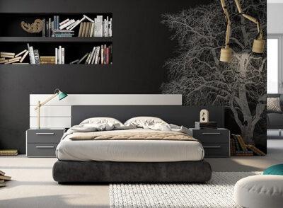 Cabecero en forma de galería para dormitorio de matrimonio en blanco y negro con mesita de 2 cajones