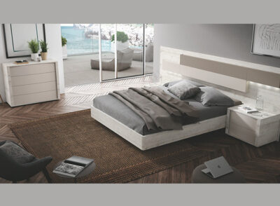 Cabecero rectangular y asimétrico con mesitas de noche de 1 cajón para dormitorio de matrimonio