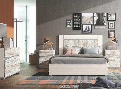 Dormitorio matrimonio con cabecero y mesitas vintage sin tiradores con 3 cajones