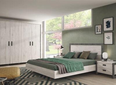 Cabezal dormitorio de matrimonio con bañera y mesitas (+ armario opcional)