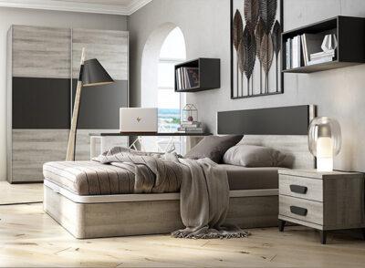 Cabezal de dormitorio de matrimonio con canapé con base tapizada y mesita de 2 cajones (+ mobiliario opcional)