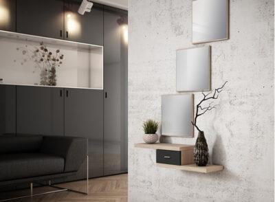 Cajón recibidor pequeño en color blanco con 3 espejos cuadrados de estilo moderno