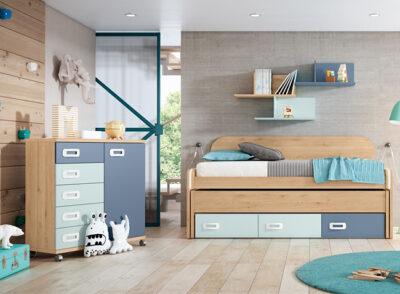 Cama juvenil con cajones debajo y cama desplazable + cómoda
