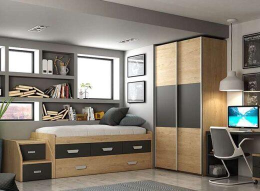 cama-juveniles-con-escaleras-zona-de-estudio-armario-puertas-correderas-en-negro