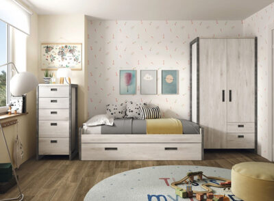 Cama nido para habitación juvenil con armario de 2 puertas y cajones