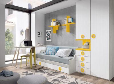 Cama nido juvenil de estilo moderno de color blanco y amarillo con zona de estudio extraíble