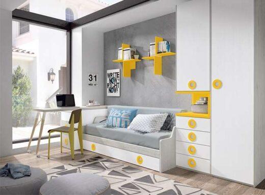 cama-nido-juvenil-moderna-blanca-y-amarillo-con-zona-estudio-extraible