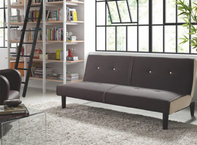 Sofá cama con sistema de apertura click clack tapizado en loneta