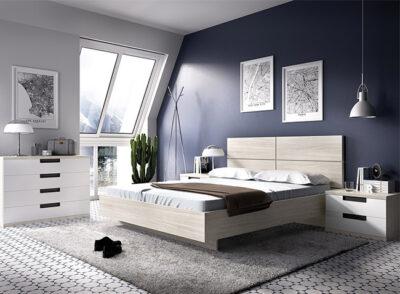 Composición de dormitorio de matrimonio compuesto de un cabezal con bañera y mesitas de 2 cajones