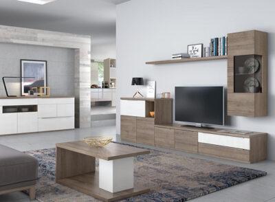 Composición modular de color blanco y nogal con vitrina y aparador opcional