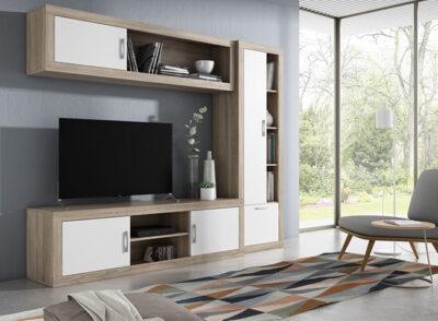Composición de muebles de salón con vitrina colgada de estilo moderno con color cambrian