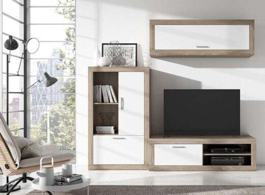 composicion-salon-modulo-bajo-y-vitrina-colgada-madera-clara