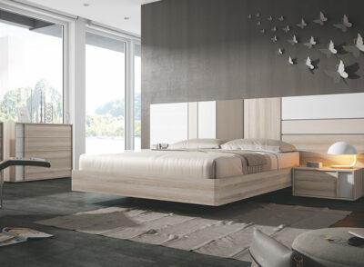 Conjunto dormitorio de matrimonio con cabecero grande de madera y 1 mesita