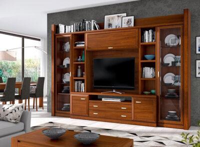 Conjunto de mueble de salón grande con vitrinas laterales con puerta de cristal y modulo bajo de madera